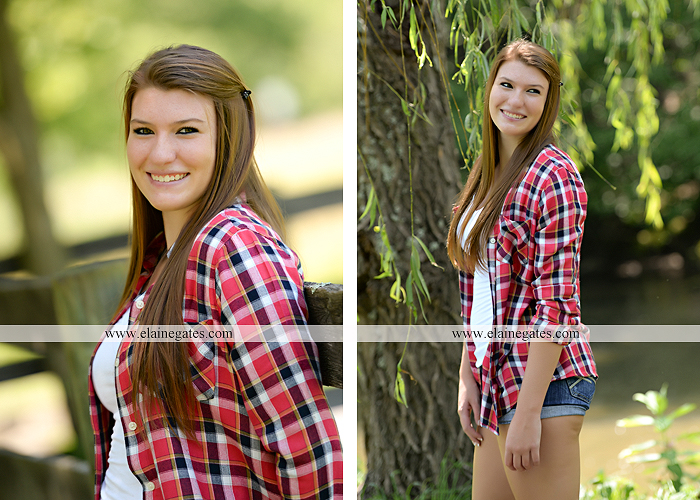 Mechanicsburg Central PA senior portrait photographer outdoor girl female formal swing iron bench tree hammock grass wildflowers field millers burg basketball road water stream creek fence rocks kb 11