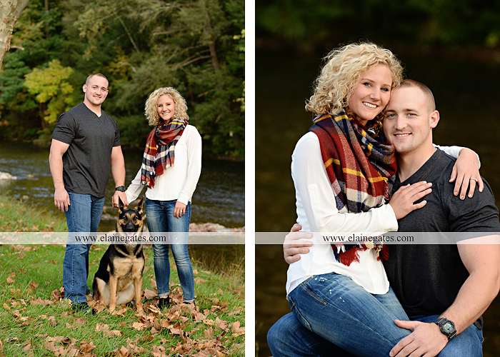 mechanicsburg-central-pa-engagement-portrait-photographer-outdoor-couple-love-hug-kiss-ring-holding-hands-road-field-hay-bale-sunset-tree-fence-water-creek-stream-shore-dog-wildflowers-ce09