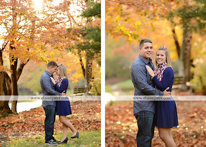 Mechanicsburg Central PA portrait photographer engagement outdoor fall leaves trees couple hug embrace kiss dog covered bridge holding hands field date rocks mpck 4