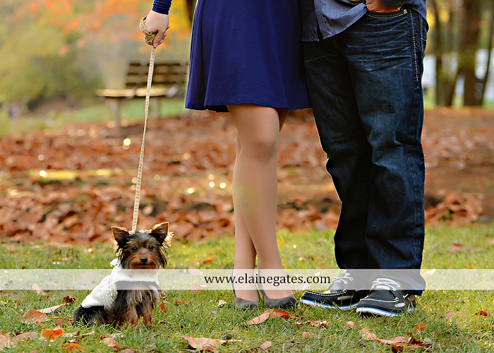Mechanicsburg Central PA portrait photographer engagement outdoor fall leaves trees couple hug embrace kiss dog covered bridge holding hands field date rocks mpck 6