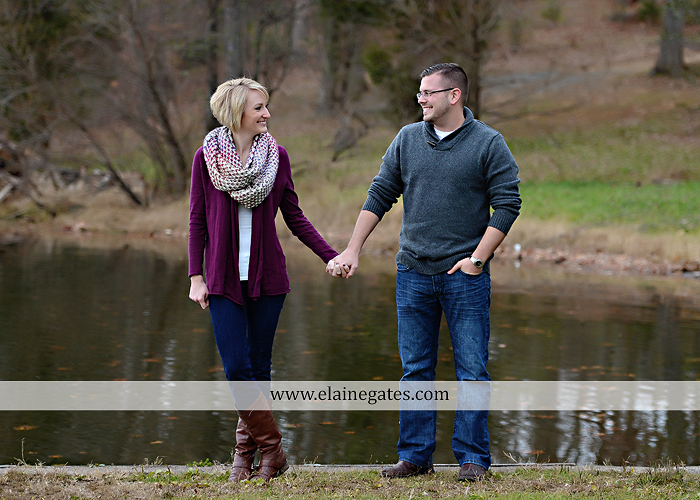 Mechanicsburg Central PA portrait photographer engagement outdoor water creek stream holding hands couple trees hug dog dock field lake leaves fall kiss jd 1