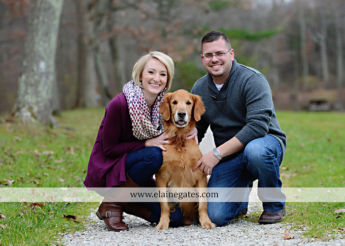 Mechanicsburg Central PA portrait photographer engagement outdoor water creek stream holding hands couple trees hug dog dock field lake leaves fall kiss jd 3