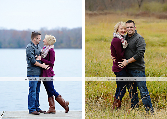Mechanicsburg Central PA portrait photographer engagement outdoor water creek stream holding hands couple trees hug dog dock field lake leaves fall kiss jd 4