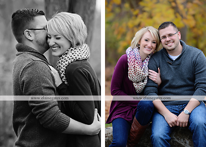 Mechanicsburg Central PA portrait photographer engagement outdoor water creek stream holding hands couple trees hug dog dock field lake leaves fall kiss jd 9