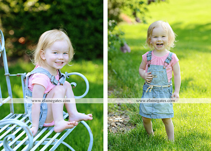Mechanicsburg Central PA portrait photographer children kids girl outdoor bench grass rope swing overalls 2 year old az 4