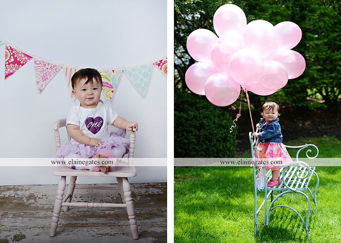 Mechanicsburg Central PA portrait photographer first birthday girl daughter family parents mother father chair bench balloons banner hug walk grass trees flowers mv 1