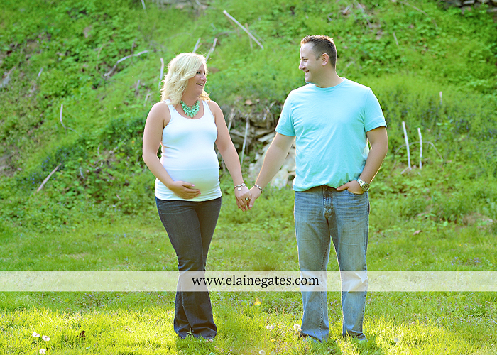 Mechanicsburg Central PA portrait photographer maternity trees grass water creek stream couple holding hands love heart hug lc 5
