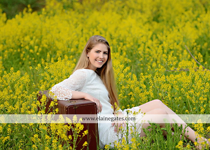 Mechanicsburg Central PA senior portrait photographer outdoor grass trees bushes field wildflowers suitcase rails brick stone wall urban st 3