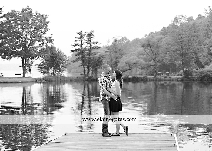 Mechanicsburg Central PA portrait photographer engagement outdoor couple water trees grass field dock water lake fishing lure boat holding hands picnic basket kiss path ph 06