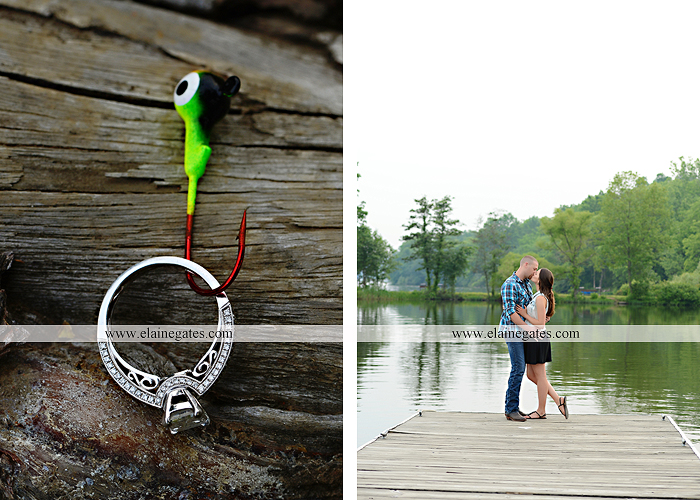 Mechanicsburg Central PA portrait photographer engagement outdoor couple water trees grass field dock water lake fishing lure boat holding hands picnic basket kiss path ph 07