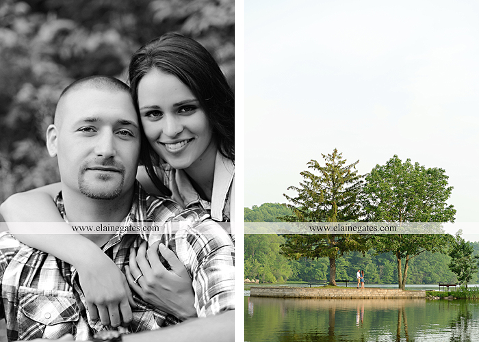 Mechanicsburg Central PA portrait photographer engagement outdoor couple water trees grass field dock water lake fishing lure boat holding hands picnic basket kiss path ph 13