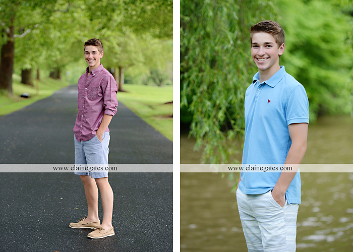 Mechanicsburg Central PA senior portrait photographer outdoor guy male road trees water stream creek shore rocks fence field kk 01