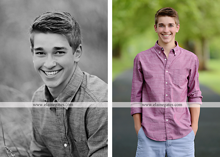 Mechanicsburg Central PA senior portrait photographer outdoor guy male road trees water stream creek shore rocks fence field kk 07