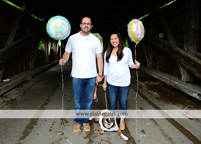 Mechanicsburg Central PA portrait photographer outdoor gender reveal dog cake covered bridge baby girl boy pink blue sonogram balloons 03