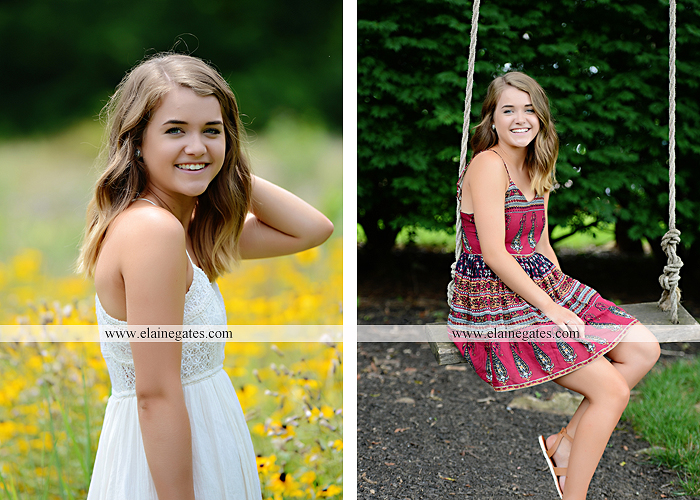 Mechanicsburg Central PA senior portrait photographer outdoor girl female fence trees woods field wooden swing rustic barn door wildflowers black eyed susans grass metal bench 16