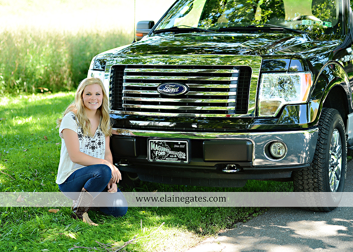 Mechanicsburg Central PA senior portrait photographer outdoor grass formal tree water stream creek fence field american flag usa ford pickup truck road brick wall stone wall wildflowers wooden swing 09
