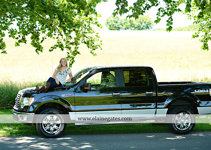 Mechanicsburg Central PA senior portrait photographer outdoor grass formal tree water stream creek fence field american flag usa ford pickup truck road brick wall stone wall wildflowers wooden swing 11