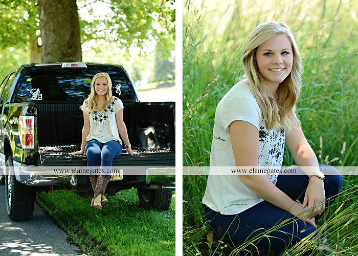 Mechanicsburg Central PA senior portrait photographer outdoor grass formal tree water stream creek fence field american flag usa ford pickup truck road brick wall stone wall wildflowers wooden swing 12