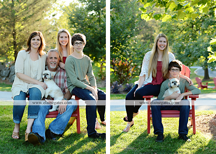 Mechanicsburg Central PA family portrait photographer outdoor carlisle dickinson college mother father sister brother parents dog trees grass stone wall adirondack chair mt 05