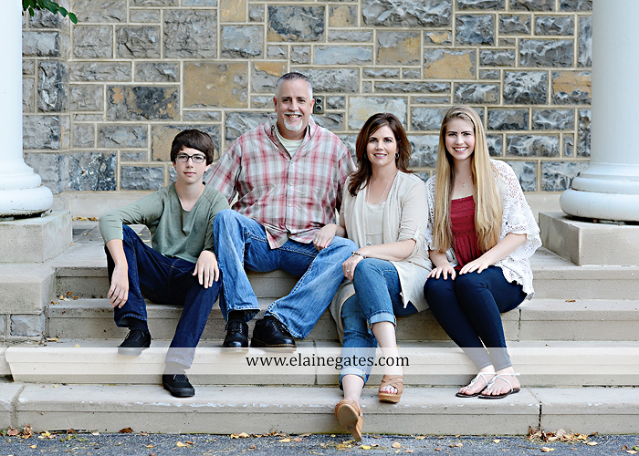 Mechanicsburg Central PA family portrait photographer outdoor carlisle dickinson college mother father sister brother parents dog trees grass stone wall adirondack chair mt 06