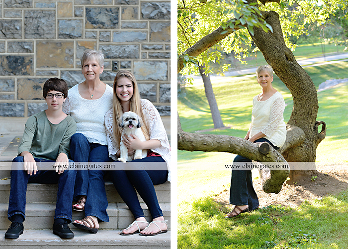 Mechanicsburg Central PA family portrait photographer outdoor carlisle dickinson college mother father sister brother parents dog trees grass stone wall adirondack chair mt 08