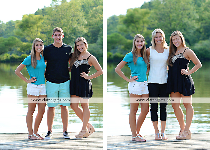 Mechanicsburg Central PA family portrait photographer outdoor mother father sisters brother parents dock water lake trees boat canoe path collage shirts pf 03