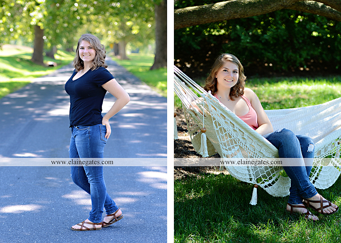 Mechanicsburg Central PA senior portrait photographer outdoor girl female water stream creek wildflowers grass fence tree field road hammock swing formal ab 07