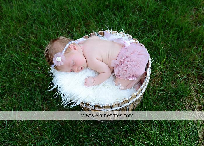 Mechanicsburg Central PA newborn baby portrait photographer girl sleeping indoor blanket bow basket tutu knit hat grass ns 10