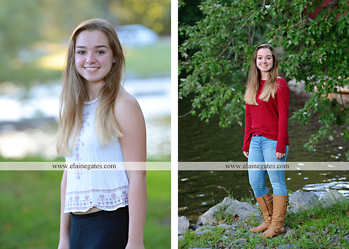 Mechanicsburg Central PA senior portrait photographer outdoor female girl rustic bridge road formal grass trees water stream creek covered bridge wooden beams messiah college path kh 03