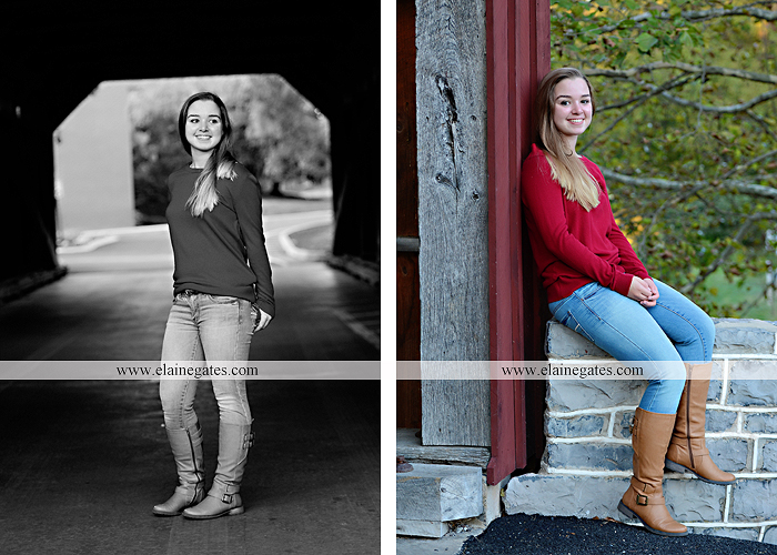 Mechanicsburg Central PA senior portrait photographer outdoor female girl rustic bridge road formal grass trees water stream creek covered bridge wooden beams messiah college path kh 05