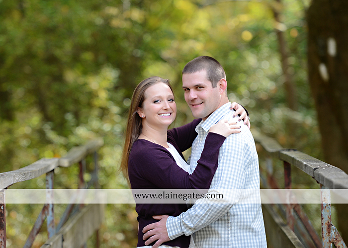 Mechanicsburg Central PA engagement portrait photographer outdoor boiling springs gazebo leaves path trees fence bridge water stream ivy stone steps bricks kiss aj 4