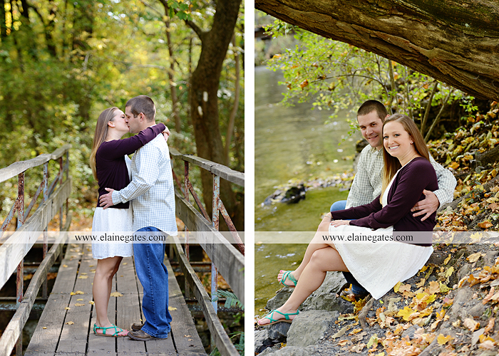 Mechanicsburg Central PA engagement portrait photographer outdoor boiling springs gazebo leaves path trees fence bridge water stream ivy stone steps bricks kiss aj 5