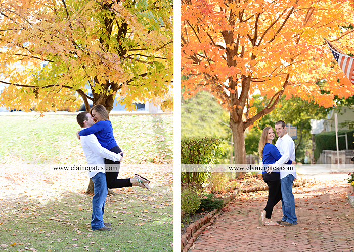 Mechanicsburg Central PA engagement portrait photographer outdoor boiling springs gazebo leaves path trees fence bridge water stream ivy stone steps bricks kiss aj 7