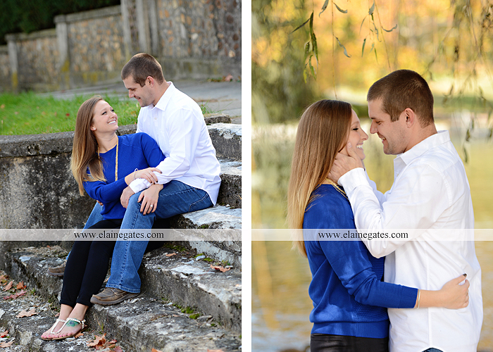 Mechanicsburg Central PA engagement portrait photographer outdoor boiling springs gazebo leaves path trees fence bridge water stream ivy stone steps bricks kiss aj 8