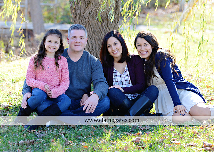 Mechanicsburg Central PA family portrait photographer outdoor girl sisters mother father leaves boiling springs lake trees wood bridge grass stone wall cc 09