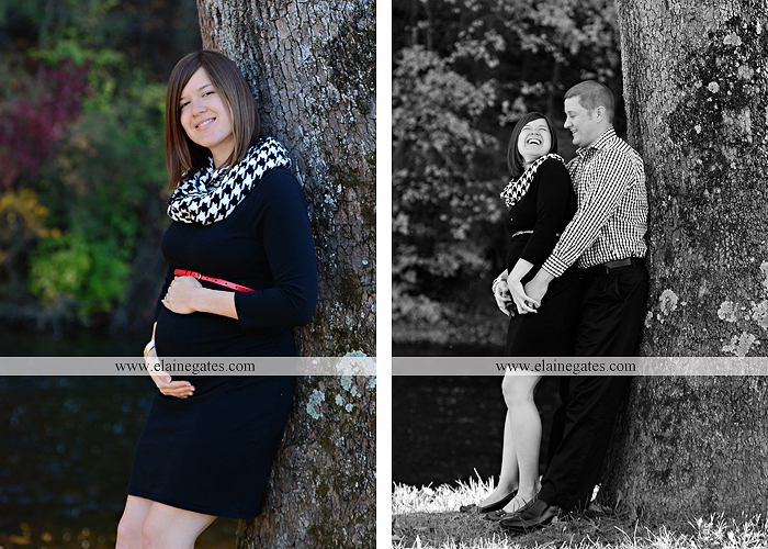 Mechanicsburg Central PA portrait photographer maternity outdoor path trees grass water stream creek kiss holding hands pillow sonogram belly rings jm 2