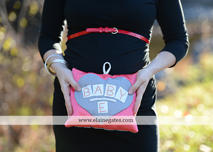 Mechanicsburg Central PA portrait photographer maternity outdoor path trees grass water stream creek kiss holding hands pillow sonogram belly rings jm 3