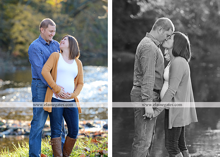 Mechanicsburg Central PA portrait photographer maternity outdoor path trees grass water stream creek kiss holding hands pillow sonogram belly rings jm 7