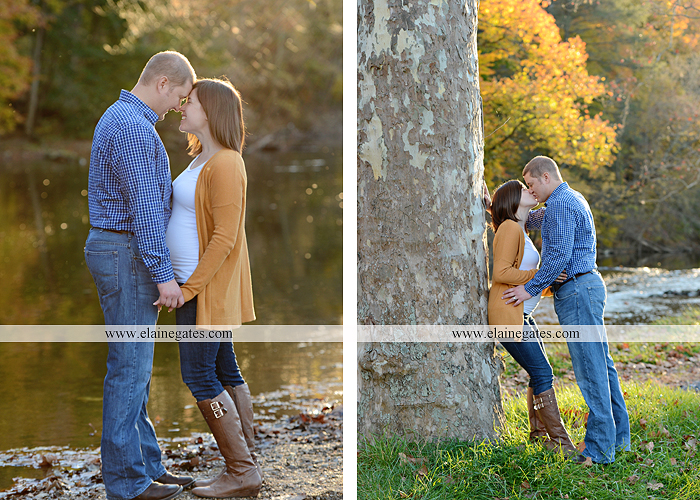 Mechanicsburg Central PA portrait photographer maternity outdoor path trees grass water stream creek kiss holding hands pillow sonogram belly rings jm 8