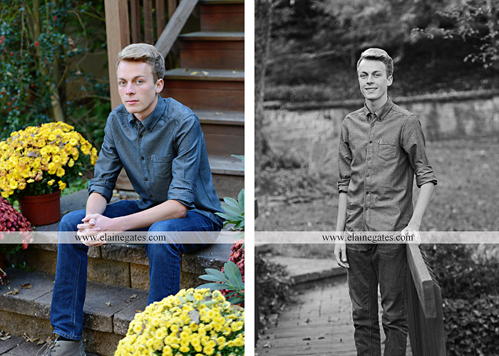 Mechanicsburg Central PA senior portrait photographer outdoor guy male stone wall ivy mums stairs wooden bridge trees grass door leaves path jg 2