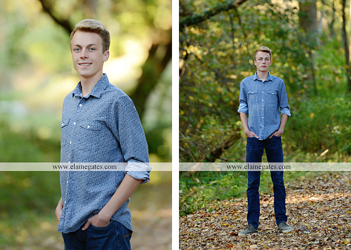 Mechanicsburg Central PA senior portrait photographer outdoor guy male stone wall ivy mums stairs wooden bridge trees grass door leaves path jg 5