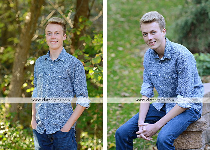 Mechanicsburg Central PA senior portrait photographer outdoor guy male stone wall ivy mums stairs wooden bridge trees grass door leaves path jg 6