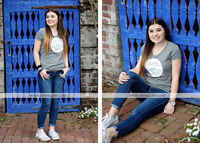 Mechanicsburg Central PA senior portrait photographer outdoor girl female Venue Chilton brick wall stone wall iron gate road trees steps MASH mechanicsburg area school district ed 2