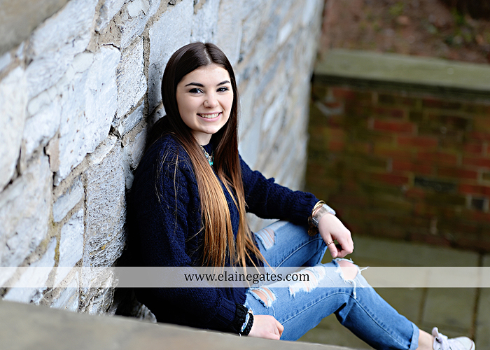 Mechanicsburg Central PA senior portrait photographer outdoor girl female Venue Chilton brick wall stone wall iron gate road trees steps MASH mechanicsburg area school district ed 3