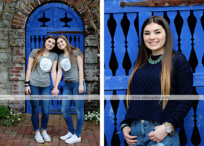 Mechanicsburg Central PA senior portrait photographer outdoor girl female Venue Chilton brick wall stone wall iron gate road trees steps MASH mechanicsburg area school district ed 4