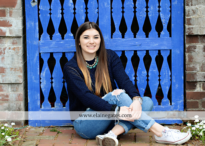 Mechanicsburg Central PA senior portrait photographer outdoor girl female Venue Chilton brick wall stone wall iron gate road trees steps MASH mechanicsburg area school district ed 5
