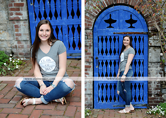 Mechanicsburg Central PA senior portrait photographer outdoor girl female Venue Chilton brick wall stone wall stone arch steps iron gate shrub row hedges cvhs cumberland valley high school jt 1