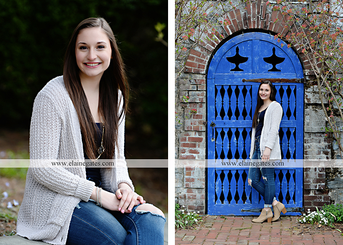 Mechanicsburg Central PA senior portrait photographer outdoor girl female Venue Chilton brick wall stone wall stone arch steps iron gate shrub row hedges cvhs cumberland valley high school jt 3