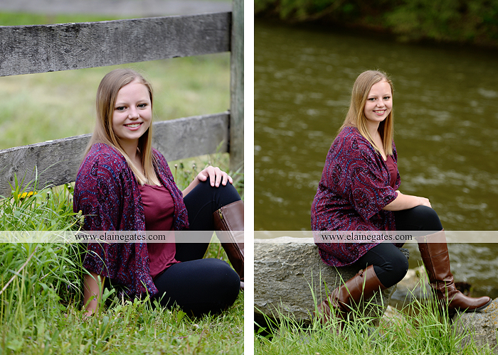 Mechanicsburg Central PA senior portrait photographer outdoor girl female field grass trees flowers road fence water stream creek rock mother mom as 5