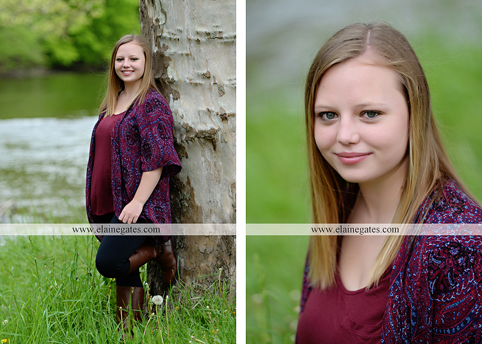 Mechanicsburg Central PA senior portrait photographer outdoor girl female field grass trees flowers road fence water stream creek rock mother mom as 9